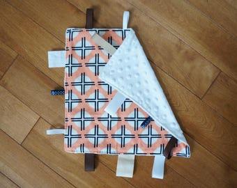 Taggie Blanket; pink and navy, modern nursery, girls taggie blanket