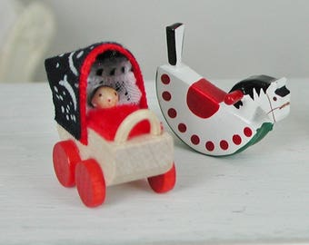 Doll prams from the Ore mountains for the doll, the Dollhouse, miniature dollhouse miniatures