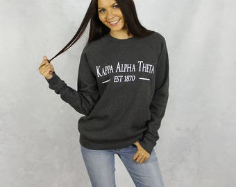 Kappa Alpha Theta Crewneck Sweatshirt in Charcoal Gray