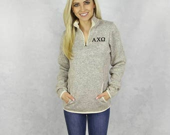 Alpha Chi Omega Quarter Zip Pullover Fleece