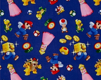 "Mario Character toss - Nintendo - by Springs Creative fabric, 43-44"" wide, 100% cotton, by the half yard"