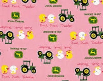 "John Deere Duck, duck, tractor on pink fabric, By the Half Yard, 44"" wide, cotton"