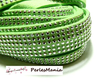 1 meter of rhinestone studded silver appearance suede 3 rows faceted lime green suede cord