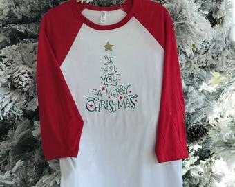 Christmas Raglan 3/4 Sleeve We Wish You A Merry Christmas