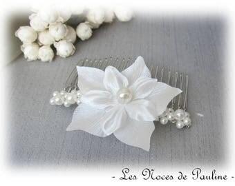 Comb ivory flower satin wedding jewelry