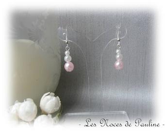 Pearl Earrings powder pink wedding 3 melody Metal Rose