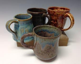 Mismatched set, handmade mugs, set of 4 (16221)