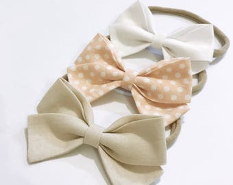 Charley neutral peach polka dot headband set newborn to girls