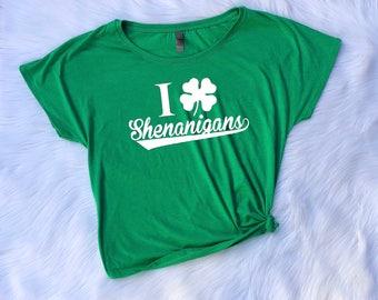 Shenanigans T shirt, Ladies Dolman T shirt, Wideneck shirt, Saint Patricks day Dolman T shirt, St. Patrick's day tee, shenanigans