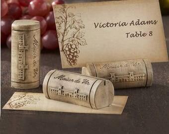 Maison Du Vin Wine Cork Place Card-photo Holder With Grape