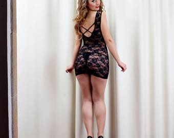 Sexy Lingerie Lacy Lace Up Black Babydoll Mini Dress