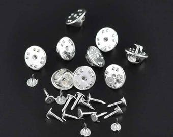 Supports brooches/pins silver customize 4 mm