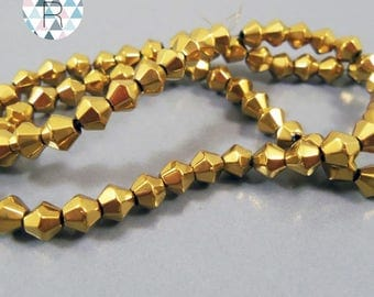 80 gold plated 4mm glass bicone beads