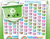 60 Cute Recycling Box/Trash/Garbage/Rubbish Planner Stickers, Filofax, Happy Planner, Erin Condren, Kawaii, Cute Sticker, UK