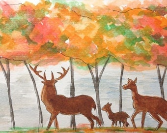 Fall forest family, reindeer and Jerry in the forest.