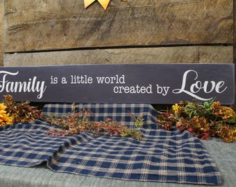 Family is a Little World Created by Love Designed to give Slight Rustic Vintage Look Solid Wood Free Color Word Changes 100% USA Handmade