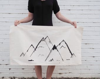 Mountain Mural // Hand Painted Tapestry