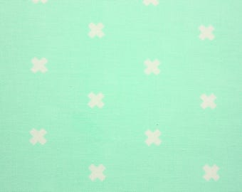 Cotton + Steel Basic Cross XOXO by Rashida Coleman-Hale, Mint, Cotton Fabric, Perfect for Children Clothes, Girl Clothes, Quilt, RJR Fabric