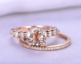 Morgantie Ring Set,Morganite Bridal Sets,7mm Round Cut Morganite Engagement Ring,Full Eternity Diamond Wedding Band,14K Rose Gold Ring