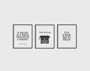 Writer Posters, Gifts For Writers, Keep Writing, Set of 3 Prints, Victor Hugo, Author Decor, Writer, Gift, Typewriter, Monochrome