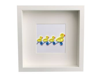 Personalized Baby Nursery Art & Decor, Personalized Framed Paper Quilled Ducks