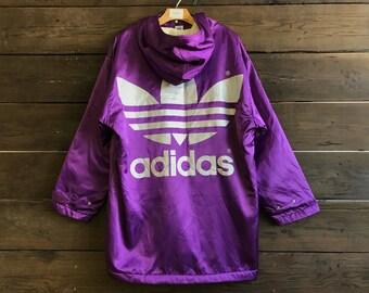 Vintage 90s Adidas Satin Sherpa Lined Coat
