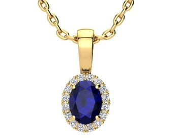 14K Yellow Gold 0.67 CT Oval Sapphire And Halo Diamond Necklace-  Available in 14K OR 10K