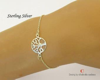 Silver Tree of Life Bracelet, Sterling Silver Bracelet, Skinny Tree Bracelet, Family Tree Bracelet, Dainty Bracelet, Minimalist Bracelet