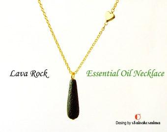Essential Oil Diffuser Black Lava Rock Drop Necklace, Sterling Silver, Heart Diffuser, Aromatherapy, Perfume Pendant, Lava Stone Tear Drop