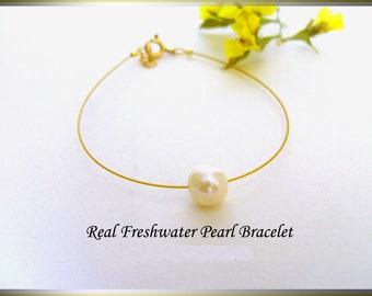 One Pearl Bracelet, Real Freshwater Pearl, Single Pearl Bracelet, Dainty Pearl Bracelet, Simple Pearl Bracelet, Bridesmaid Gift.