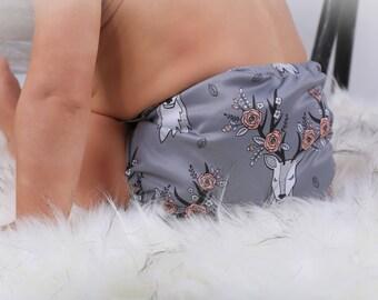 Cloth diaper deer floral gray