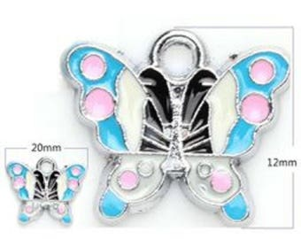 set of 2 silver Butterfly charm 20 x 12 mm