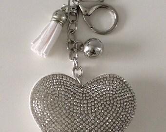 Has beautiful Rhinestone Heart Keychain personalize with name