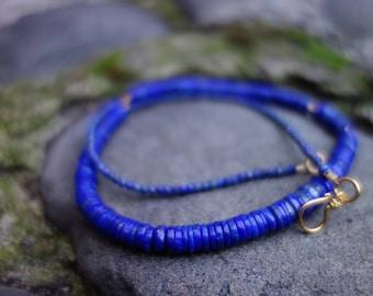 Lapis Lazuli Beaded Necklace, Blue Necklace 19''