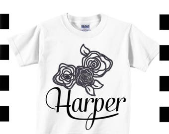 Girls personalized shirt with flowers, custom girl shirt , toddler flower tee , black floral top , boho floral shirt with name , girls boho