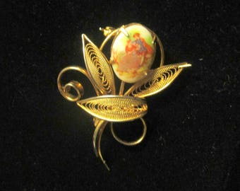 Vintage Goldtone Brooch with Porcelain painting
