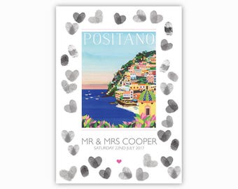 GUESTBOOK Positano, Italy - A3 print on 5mm foamboard. Alternative guestbook board, Amalfi Coast, Italian wedding. Wedding decorations