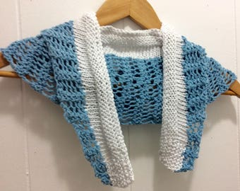 Blue Knit Scarf, Knit Scarf, Cotton Scarf, Lace Scarf, Blue and White Scarf, Women's Fashion, Gift for Her, Women's Accessories, White scarf