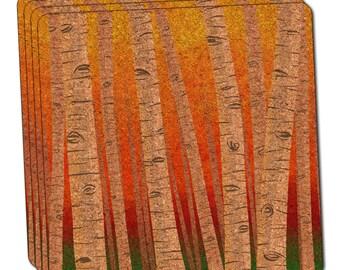 Birch Trees In Autumn Thin Cork Coaster Set Of 4
