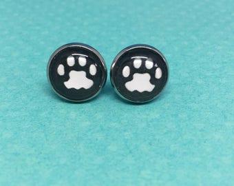 cat paw stud earrings, tabby cat, 12mm (1/2in), glass earring for cat lover