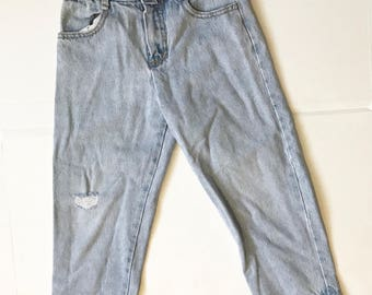 "Distressed GUESS ""mom"" jeans"
