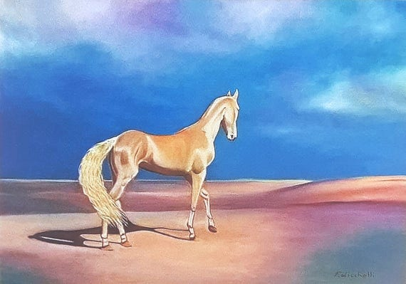 Akhal-teke horse, A5 giclee fine art print, original oil painting by Francesca Licchelli, gift idea for him, home decoration, Wall art.