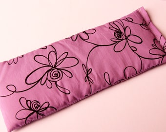 Therapeutic, Relaxing Yoga/Meditation Flaxseed Filled Eye Pillow - Purple Flowers