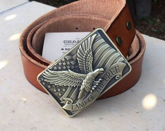American Flag and Eagle Belt Buckle w/Pipe