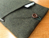 """MacBook 13"""" Pro Air cover case, laptop sleeve, British tweed wool, green herringbone"""