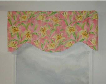 Waverly Seaside Lily Pink Green Orange Valance