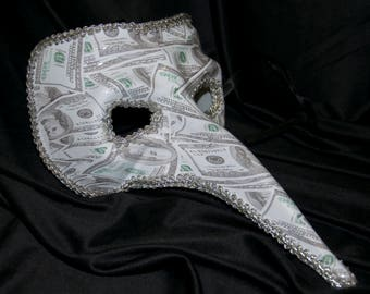 Long Nose masquerade Mask With Dollar Bill Print Halloween Venetian Money Adult Mens Womens Burning Man Plague Doctor Creepy Mask