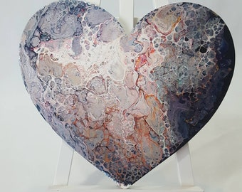 Heart Shaped Acrylic Fluid Art Painting