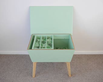 RESERVED - Vintage Mid Century Storage Box, End Table, Sewing Box. Upcycled & Painted Mint Green with Monstera Leaf Print