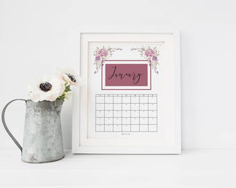 2018 calendar pdf, 2018 wall calendar, 12 month calendar, floral calendar, monthly calendar